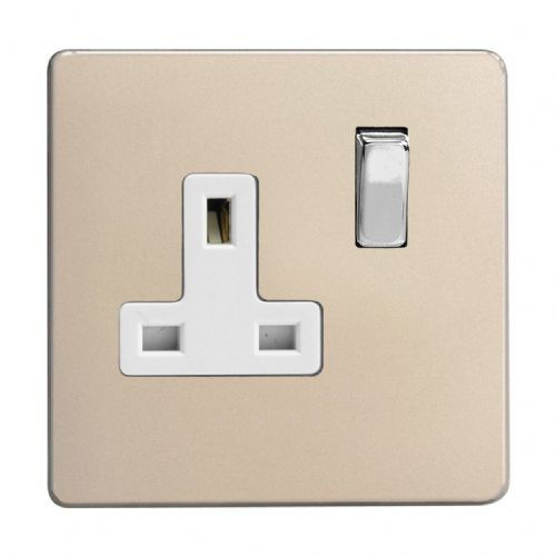 Varilight XDN4WS Screwless Satin Chrome 1 Gang 13A DP Single Switched Plug Socket